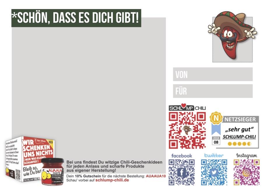 Postkarte DU BIST ECHT SCHARF | Fanshop | Schlump-Chili Shop