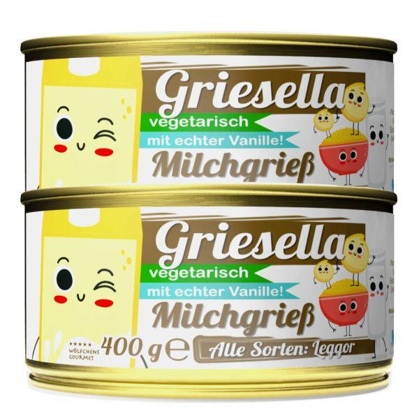 GRIESELLA⎪Milchgrieß - Grießbrei Fix & Fertig⎪Mit echter Vanille, Zimt & Limettenzeste (2 x 400g)