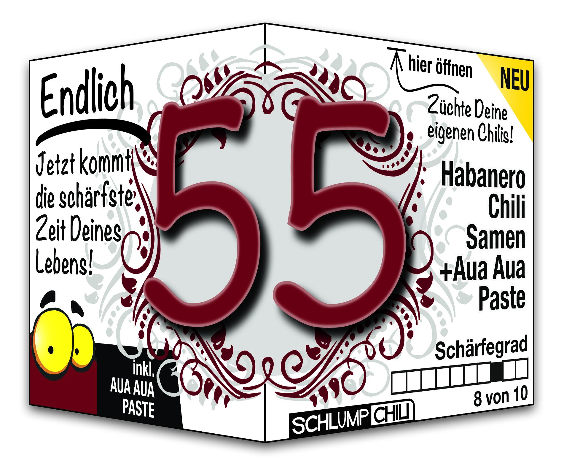 Endlich 55 Jahre Geschenk - witzige Geschenkideen zum Geburtstag | Schlump-Chili Shop