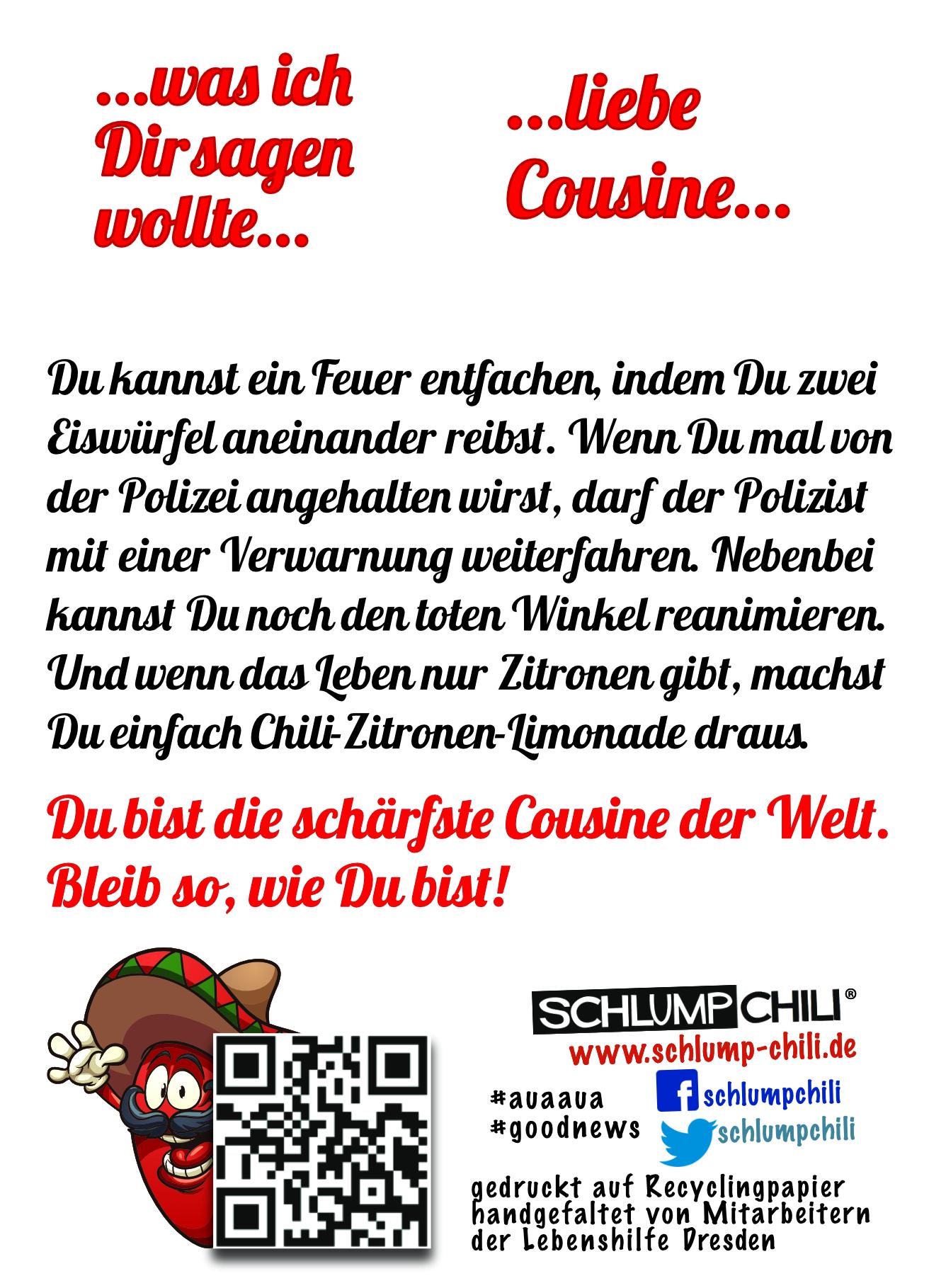 Die Scharfste Cousine Der Welt Geschenk Witzige Frauengeschenke Schlump Chili Shop