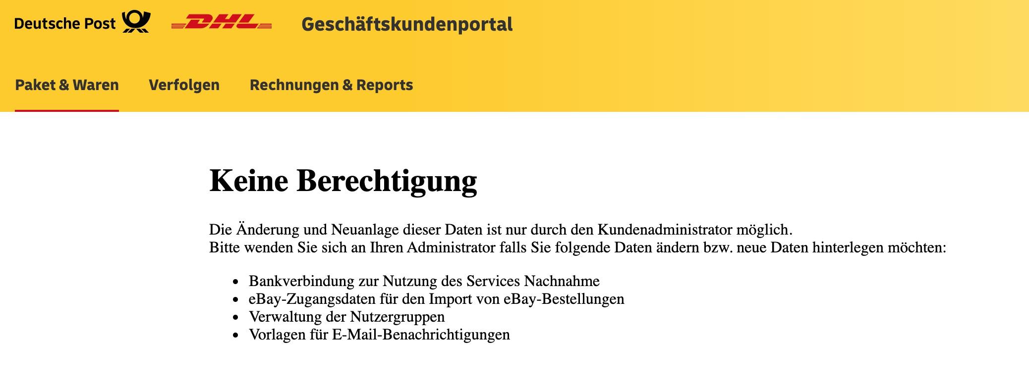 DHL-Portal-Login-Fehlermeldung