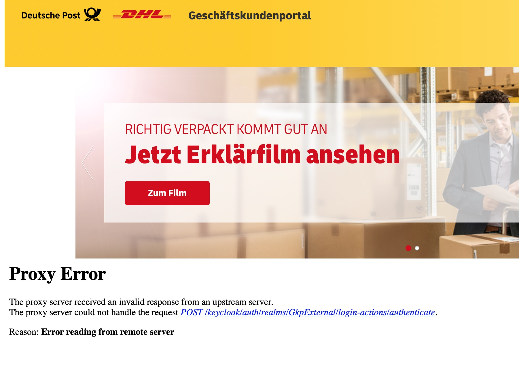 DHL-Portal-Login-Proxy-Error
